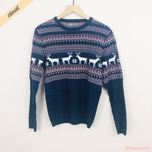 [ASOS] Blue/Pink Fairisle Reindeer Sweater
